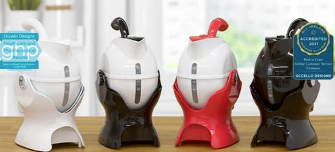 Shows the Uccello kettle in 4 colours ways