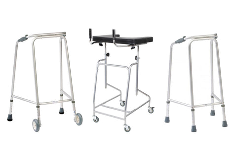 3 Zimmer frames – one without wheels, one with 2 wheels and one with 4 wheels
