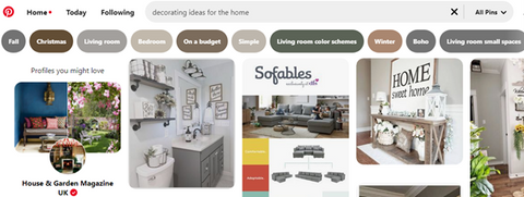 the image shows a search for decorating ideas on pinterest