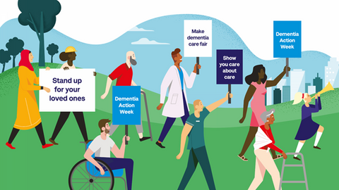 the image is a dementia action infographic