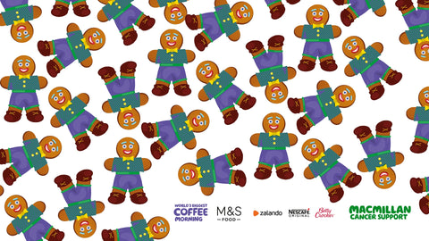 the image shows a gingerbread background for a virtual coffee morning