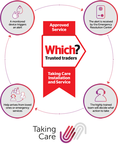 A diagram showing how the Taking Alarm services work