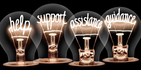 the image shows lightbulbs with advice and guidance written on them
