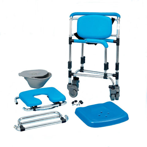 Ocean Attendant Wheeled Shower Commode Chair