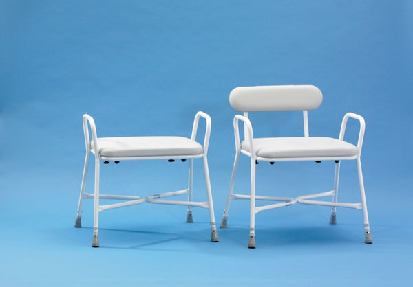 image shows Sherwood Plus Bariatric Shower Stools both with and without the optional backrest support