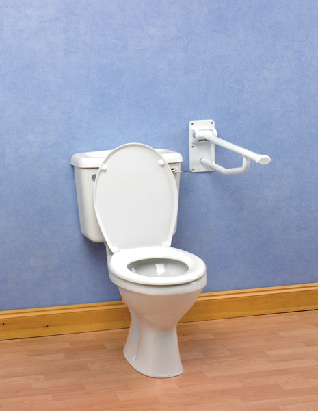 the image shows the folding support rail attached to a wall near a toilet