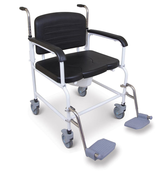 the image shows the bariatric mobile commode with footrests