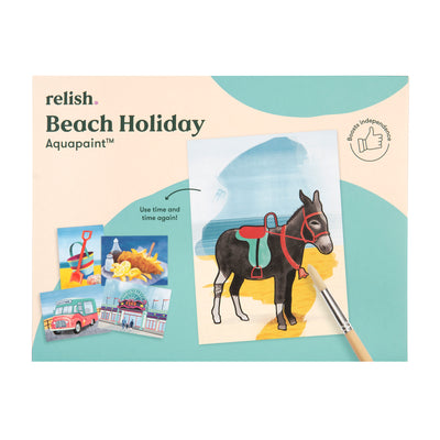 the image shows the beach holiday aquapaint box with a painting of a donkey on it