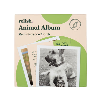 the image shows the cover of the animal album reminiscence cards box