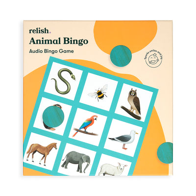 the image shows the front of the animal bingo box