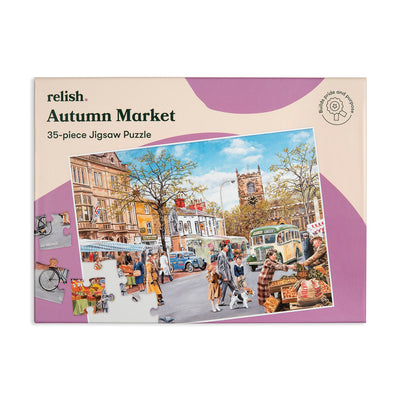 the image shows the cover of the autumn market jigsaw box