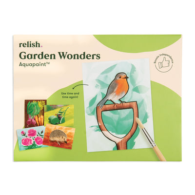 the image shows the garden wonders aquapaint box with a picture of a robin on it.
