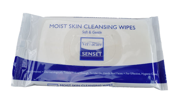 The image shows a pack of Senset Moist Patient Wipes