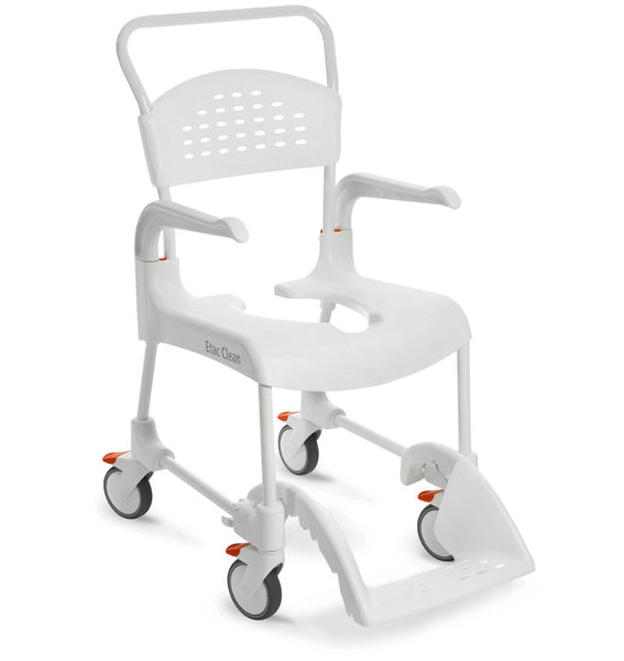 The image shows the Etac Clean Shower Commode Chair