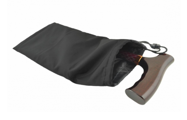 the image shows the folding walking stick bag in black with a folded cane inside