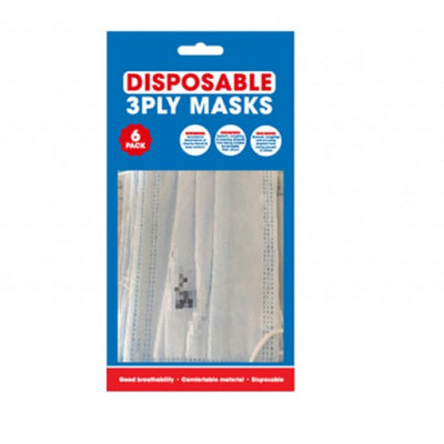 Disposable 3 ply Face Masks (Pack of 6)