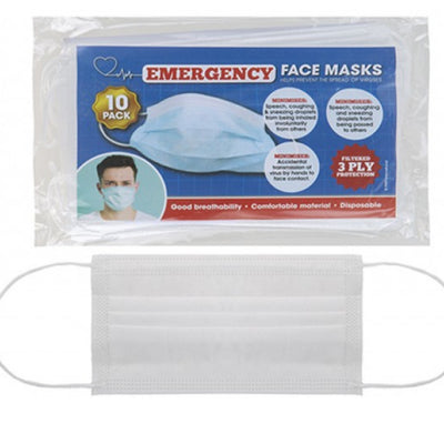 Disposable 3 ply Face Masks - 10 pack