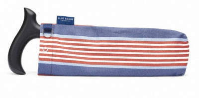 the image shows the walking stick bag in deckchair stripe