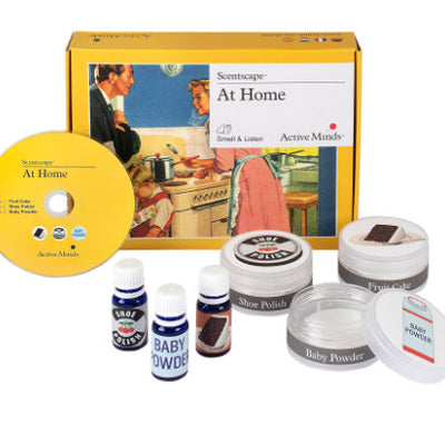 the image shows the at home scentscape package with the box, the cd, and the different scents.