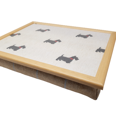 Luxury Tweed Scottie Dog Cushioned Lap Tray