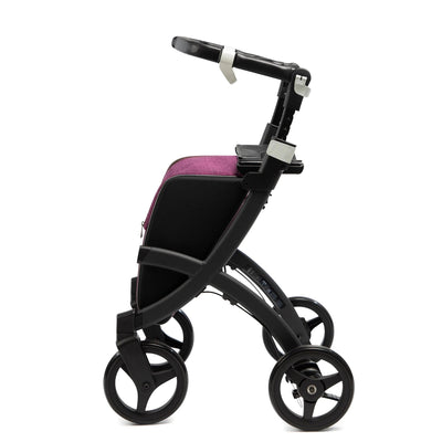 the image shows the black framed Rollz Flex Shopping Rollator with flip brakes
