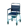 the image shows the homecraft chrome mobile wheeled commode chair without feet
