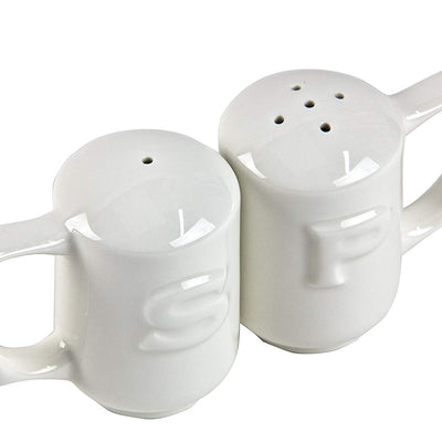 Wade Dignity One Handled Salt & Pepper Shakers – White