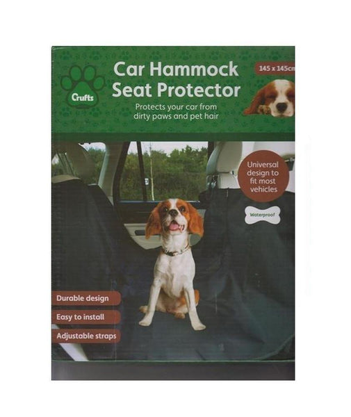 The image shows the Crufts Car Hammock Seat Protector packaging