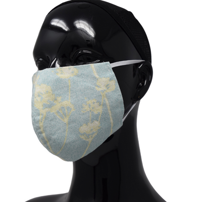 Washable, Reusable Face Mask | Blue & Yellow Flowers Print