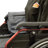 The image shows the Satchel Bag with Cross Body Strap fitted to the arm of a wheelchair