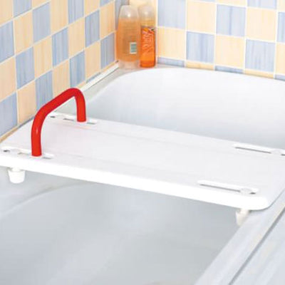 The image shows an Etac Rufus Plus Bath Board in place on a bath