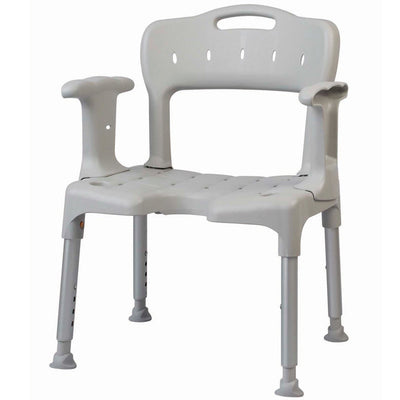 The image shows a grey Etac Swift Shower Chair