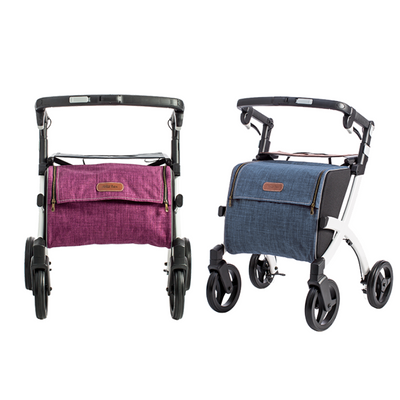 the image shows two small rollz flex shopping rollators, one in purple, one in blue