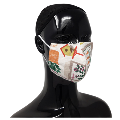the image shows a washable, resuable face mask in the gardening pattern design