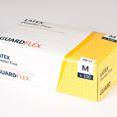 Small GuardFlex Disposable Latex Powder Free Gloves - Box of 100 gloves