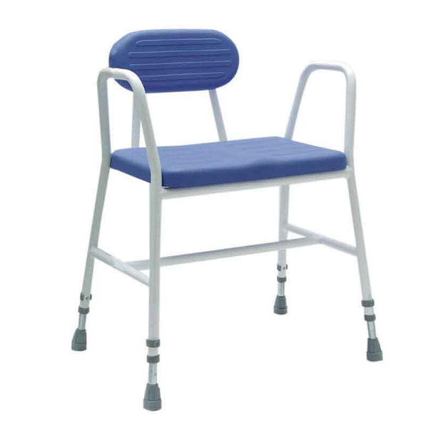 image shows white and blue extra wide padded shower stool