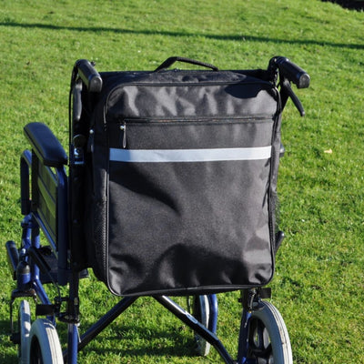 The image shows the Splash Wheelchair Bag in black attached to a wheelchair