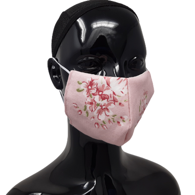 the image shows the washable reusable face mask in pink flowers design