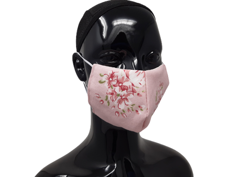 Washable, Reusable Face Mask | Pink flowers