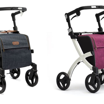 The image shows two black framed rollz flex shopping rollators, one in blue and one in purple