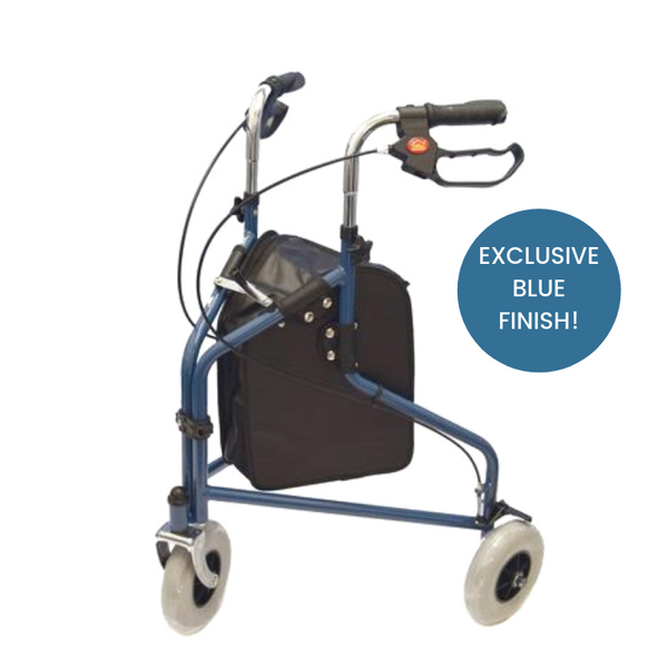 the image shows the kingfisher three wheel rollator with bag