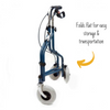the image shows a folded up kingfisher three wheel rollator with bag