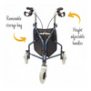 the image shows a front view of the kingfisher three wheel rollator with bag