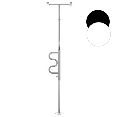 image shows white security pole with curved grab bar section