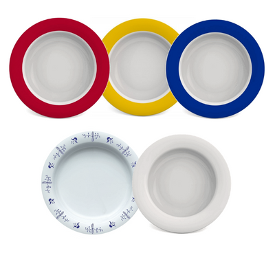 the image shows the five coloured ornamin bowls shaped like the olympic rings