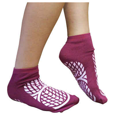 Double Sided Non Slip Patient Slipper Socks in purple