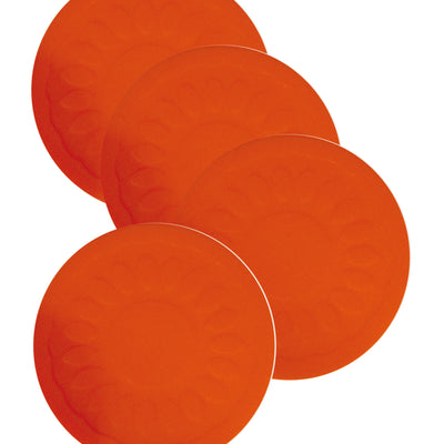 the image shows four red non slip silicone coasters