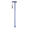The image shows the folding rubber handled walking stick in bright blue
