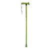 The image shows the folding rubber handled walking stick in lime green