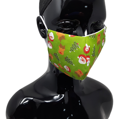 the image shows the santa and rudolph christmas face mask